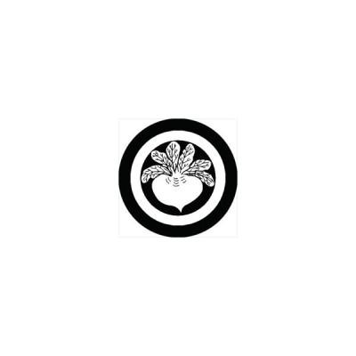 家紋シール 丸に六つ葉蕪紋 直径10cm 丸型 白紋 2枚セット KS10M-0829W