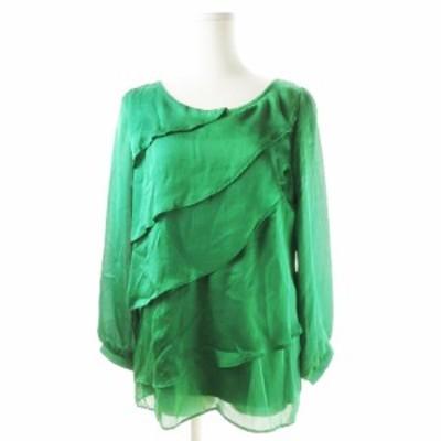 【中古】ロペ ROPE ブラウス ラウンドネック 長袖 ティアード サテン 大きいサイズ EX2 緑 グリーン /CK3 レディース