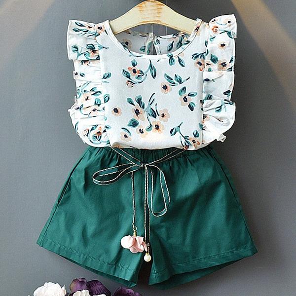 女童套裝 綠色小花短袖套裝無袖雪紡上衣 夏日套裝 涼感套裝 88680