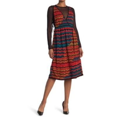 エム ミッソーニ レディース ワンピース トップス Mesh Layered Chevron Knit Dress AMARYLLIS
