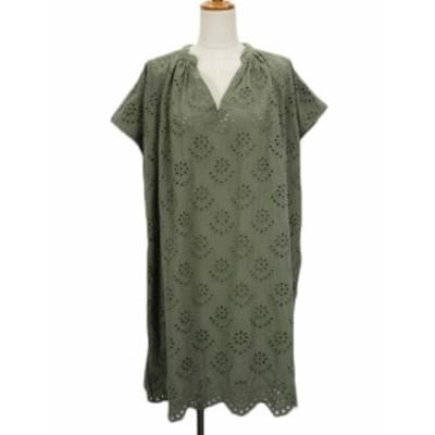 【中古】スタディオクリップ Studio Clip ワンピース スカラップ 刺繍 カットワーク 半袖 M 緑 カーキ レディース