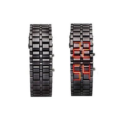 〈新品〉Iron FacelessレッドバイナリLED Wrist Watch for Man Black–JUST ARRIVE 。