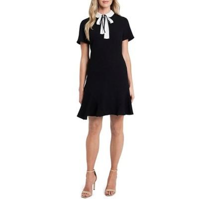 セセ レディース ワンピース トップス Short Sleeve Contrast Peter Pan Collar Crepe A-Line Dress Rich Black