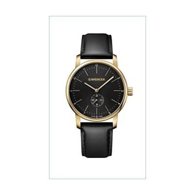 Wenger Men's Classic Swiss-Quartz Watch with Leather Strap, Black, 22 (Model: 01.1741.101)並行輸入品