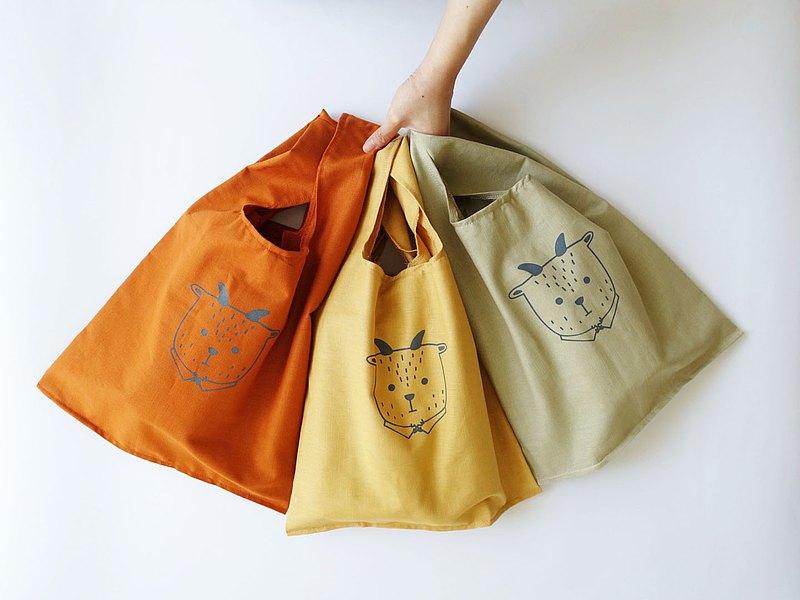 可收納 棉質 大型環保購物袋 背心袋 胖羊先生 8色