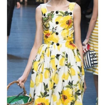 ドレス ノースリーブ フレアスカート 花柄 サイズ豊富