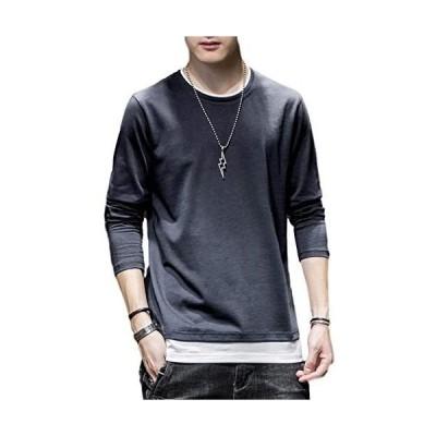 [フォーリーフ] 長袖Tシャツ メンズ ロンT Tシャツ 重ね着風 クールネック (グレー L)