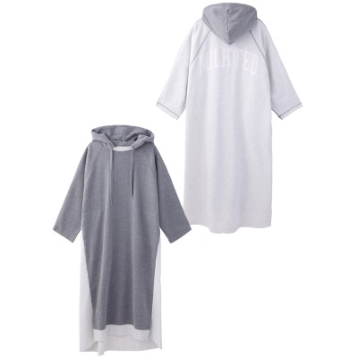 BICOLOR HOODED DRESS