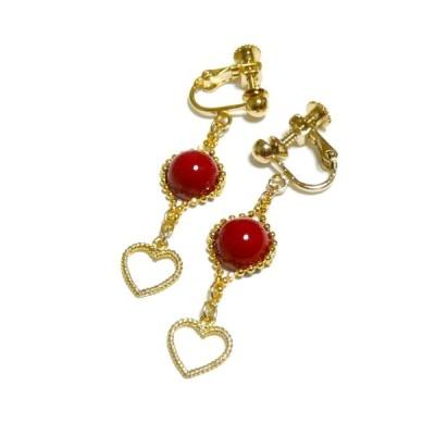 【乙女心】赤珊瑚(8mm丸珠)とハートのイヤリング/ゴールドトーン