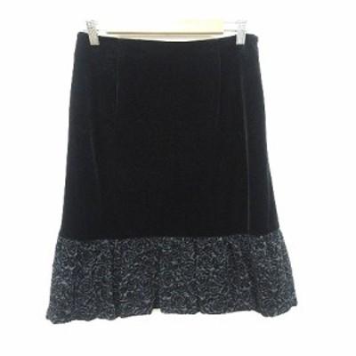 【中古】エムズグレイシー M'S GRACY ベロアスカート 台形 ひざ丈 切替 花柄 40 黒 ブラック /CT レディース