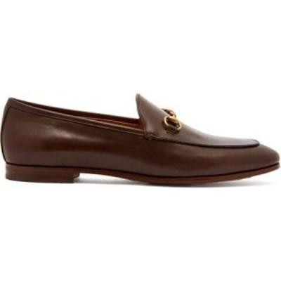 グッチ Gucci レディース ローファー・オックスフォード シューズ・靴 Jordaan leather loafers Brown