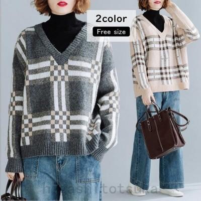 セーターニットセーターチェック柄重ね着風切り替えプルオーバーハイネック長袖トップス