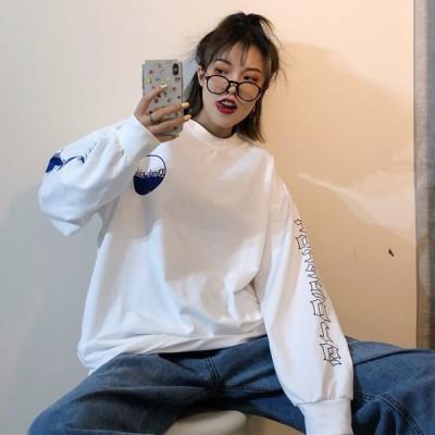 韓国ファッション レディース 長袖 パーカー ロンTシャツ トレーナー トップス 腕ロゴ 原宿系 ストリート系 大きいサイズ有り
