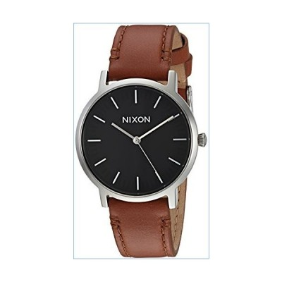 Nixon Men's Porter 35 Stainless Steel Japanese-Quartz Watch with Leather-Synthetic Strap, Brown, 17 (Model: A11991037)並行輸入品