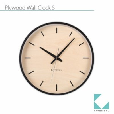 KATOMOKU plywood wall clock 5 km-50BRC ブラック シナ文字盤  電波時計 連続秒針 名入れ対応品