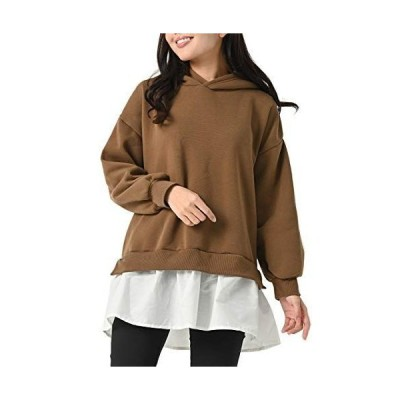 JANJAMCOLLECTION大きいサイズ レディース パーカーチュニック 裾フェイク 長袖 あったか裏起毛 重ね着風 抗菌防臭加工 トッ