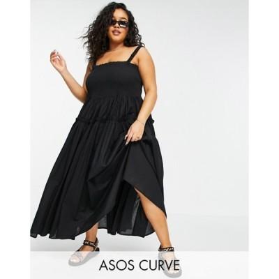 エイソス レディース ワンピース トップス ASOS DESIGN Curve shirred cami midi sundress with raw edges in black