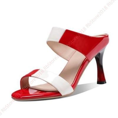 ミュール サンダル レディース ダブルベルトデザイン エナメル  8cmヒール 赤 小さいサイズ ミュール レディース 歩きやすい 事務 カジュアル  靴 サボサンダル