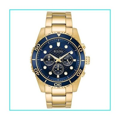 Bulova Men's Goldtone Chronograph Watch, Blue Dial【並行輸入品】