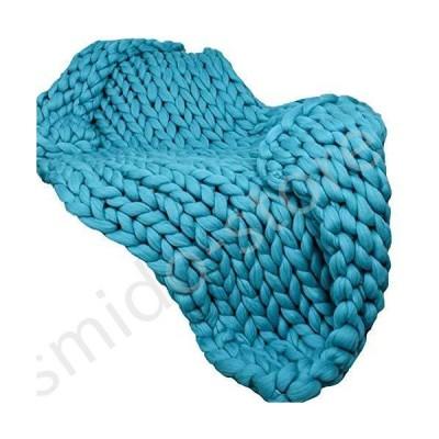 新品未使用!!送料無料!!47x59in Super Chunky Knit Blanket Teal Merino Wool Blanket Handmade Throw Extreme Knitting Chunky Blanket Sup