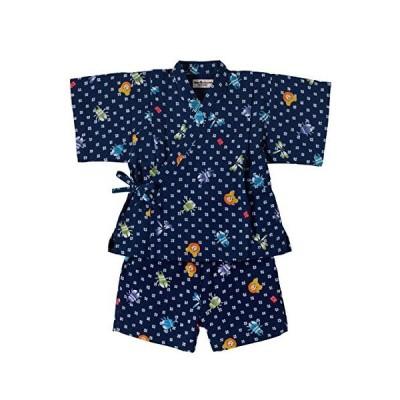 ミキハウス ホットビスケッツ 甚平スーツ 72-7510-970 (80cm, 紺)