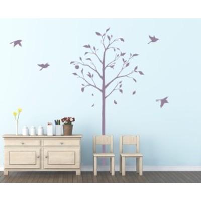 ウォールステッカー 林檎の木と小鳥 パープル Sサイズ TS-0051-ES インテリア 日本製 子供部屋 インスタ映え