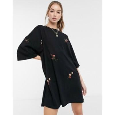エイソス レディース ワンピース トップス ASOS DESIGN oversized t-shirt dress with all over mini floral embroidery in black Black