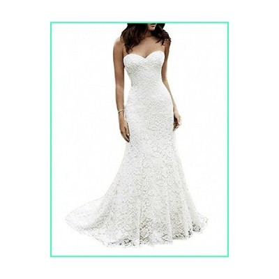 SIQINZHENG Women's Sweetheart Full Lace Beach Wedding Dress Mermaid Bridal Gown Ivory並行輸入品