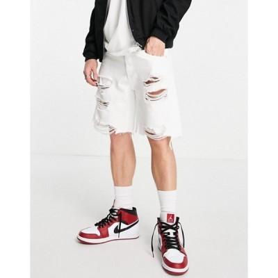 ベルシュカ メンズ デニムパンツ ボトムス Bershka distressed denim shorts in white
