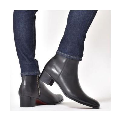 【シュベック】 ブーツ メンズ ショートブーツ サイドジップブーツ ヒールブーツ 本革 レザー 革靴 人気 おしゃれ ブランド endevice エンデバイス ブラック 黒 プ メンズ ブラック 27.0cm SVEC