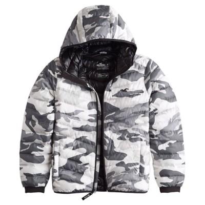 【並行輸入品】ホリスター メンズ ダウン ジャケット ( 550フィルパワー ) Hollister Lightweight Hooded Puffer Jacket (ホワイトカモフラージュ)