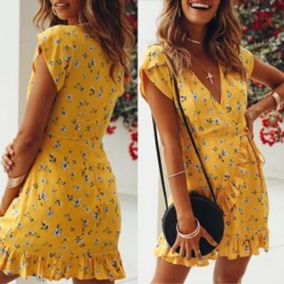 女性のファッションディープVカラー印刷フラウンスビーチドレス用アウトドアウェア