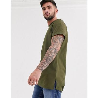 エイソス ASOS DESIGN メンズ Tシャツ トップス Longline T-Shirt With Crew Neck And Side Splits In Khaki ダークオリーブ