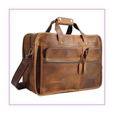 【送料無料】Polare 17'' Full Grain Leather Briefcase Laptop Attache Case Messenger Bag For Men Fits 15.6'' Laptop【並行輸入品】