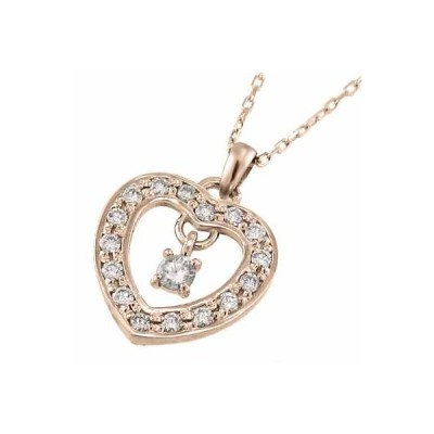 ネックレス オープンハート ダイアモンド 10金ピンクゴールド 4月誕生石
