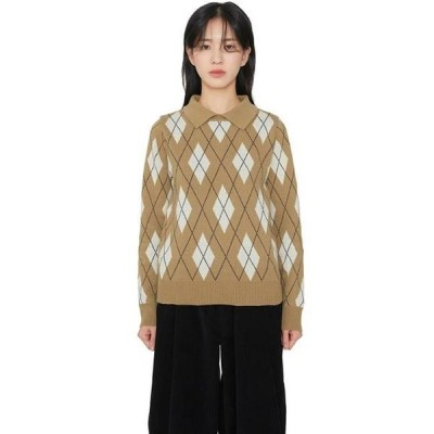 somedayif レディース ニット/セーター Cashmere argyle collar knit top