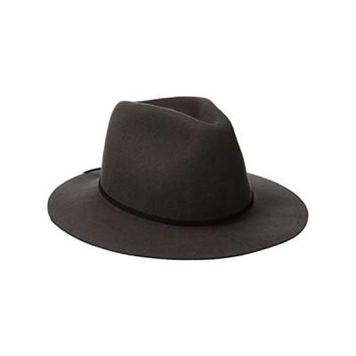 Brixton Men's Wesley Medium Brim Felt Fedora Hat, Grey, X-Small