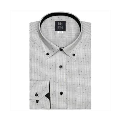 【トーキョーシャツ】 ワイシャツ長袖形態安定 ボタンダウン グレー系 メンズ クロ・グレー S-80 TOKYO SHIRTS