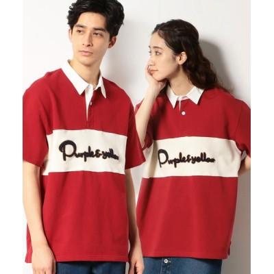 Purple&Yellow/パープルアンドイエロー サガラ刺繍 半袖 ラガーシャツ レッド S