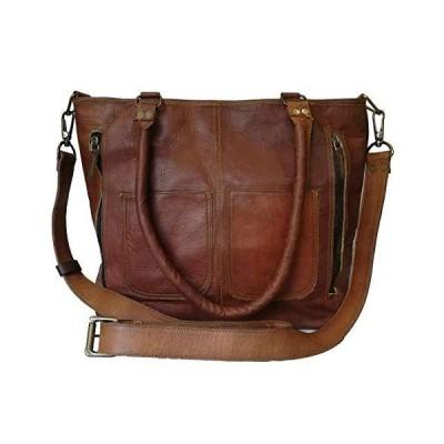 Madosh Womens Crossbody Genuine Leather Shoulder Tote Handbag Brown Purse Satchel Bag