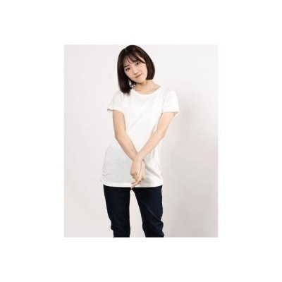 ジーラ GeeRA 裾ギャザー美ラインクルーネックTシャツ (オフホワイト)