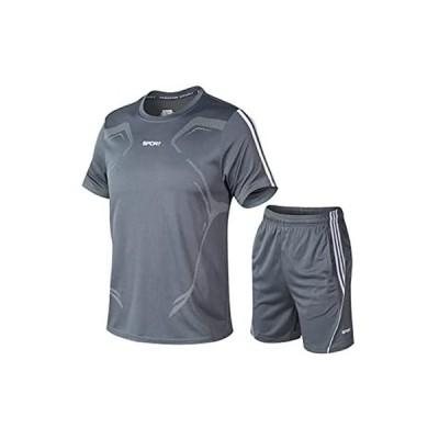 半袖 メンズ 上下セット ランニングパンツ トレーニング 半ズボン 2点セット春 夏 秋 吸汗速乾 Tシャツ カジュアル (グレー L-XL)