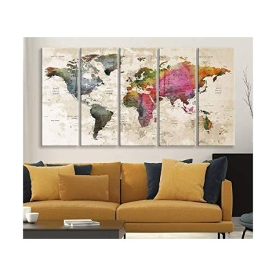 World Map Map Masterpiece Push Pin Canvas Print for Wall Decor - Wall Art Canvas Print Antique Travel Map for Home and Living Decoration - R