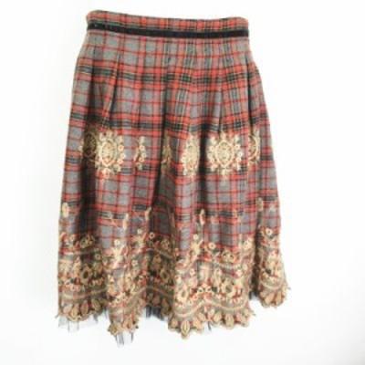 【中古】マデイラ  Madeira ウール混 チュール切替 刺繍 チェック 膝丈ギャザースカート グレー  38 レディース