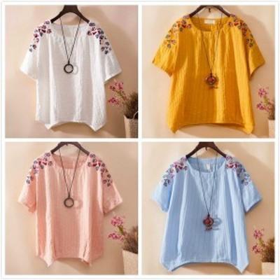 シャツブラウス半袖 綿麻Tシャツ刺繍カジュアルトップスナチュラルリネン森ガール風 可愛い花柄エレガント きれいめ 大きいサイズ二点送