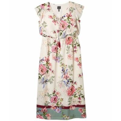 アドリアナ パペル ワンピース トップス レディース Plus Size Floral Border Print Maxi Dress Ivory Multi