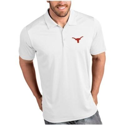 """メンズ ポロシャツ """"Texas Longhorns"""" Antigua Desert Dry Tribute Polo - White"""
