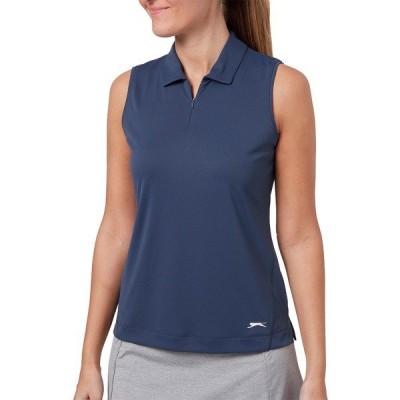 スラゼンジャー シャツ トップス レディース Slazenger Women's Tech Sleeveless Golf Polo GreySlate