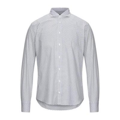 MAESTRAMI 柄入りシャツ  メンズファッション  トップス  シャツ、カジュアルシャツ  長袖 ホワイト