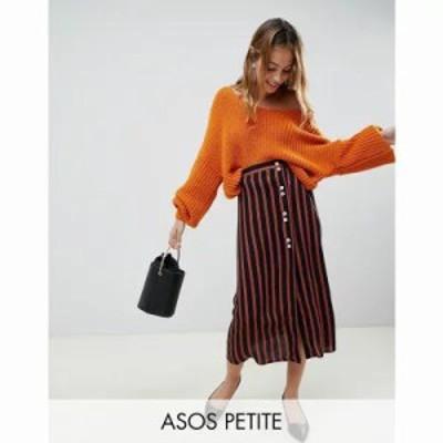 エイソス ひざ丈スカート ASOS DESIGN Petite stripe midi skirt with contrast buttons Multi